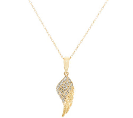 Angel Wing Diamond Pendant w/Chain, 14K, 1/10 cttw, by Affinity