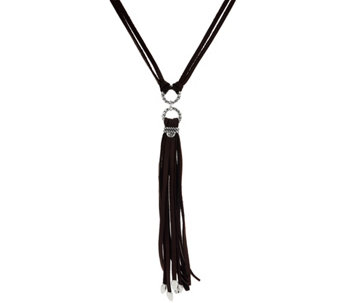 Sterling & Leather Tassel Necklace by American West - J332118