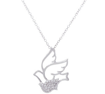 Hallmark Sterling Cubic Zirconia Dove Pendant with Chain - J333418
