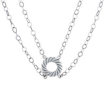 Carolyn Pollack Two Strand Sterling Silver Choker Necklace - J334318