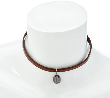 Honora Cultured Pearl Brown Leather Choker Necklace