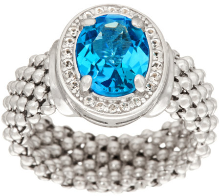 Italian Silver 2.10 ct Blue Topaz Ring, Sterling