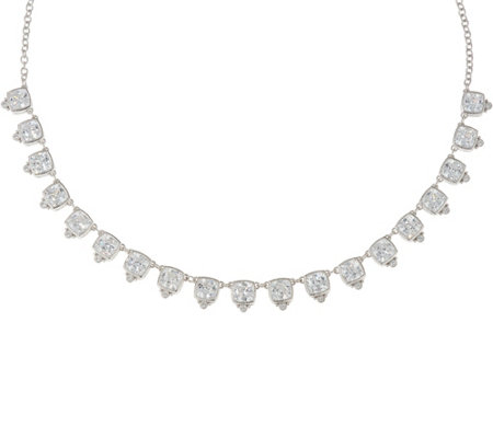 Judith Ripka Sterling 22.50 cttw Cushion Diamonique Necklace