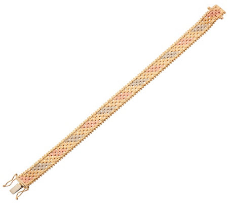 "Imperial Gold 7-1/4"" Tri-color Basketweave Bracelet, 14K"