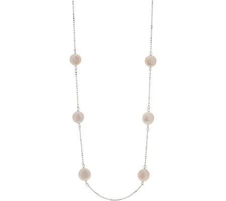 "Honora Cultured Pearl Coin Station 24"" Necklace, Sterling 4.8g"