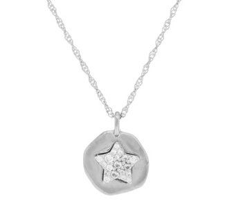 Diamonique Motif Pendant with Chain Sterling Silver - J350918