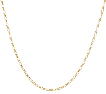 """As Is"" Italian Gold 18"" Polished Oval Rolo Link Chain Necklace, 1.4g"