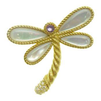 Judith Ripka 14K-Clad Multi-Stone Dragonfly Pin