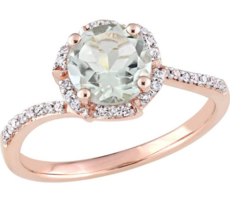 14K Gold 1.30 ct Green Amethyst & 1/10 cttw Diamond Halo Ring