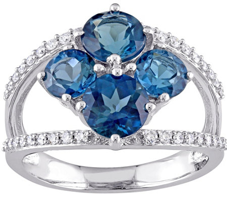 3.15 cttw London Blue Topaz & 1/5 cttw DiamondRing, 14K