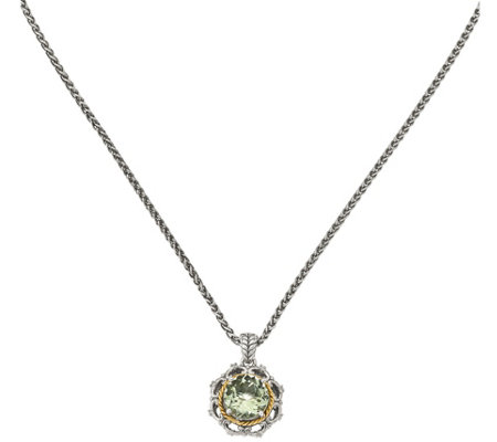 "Sterling & 14K Green Quartz and Diamond Pendantwith 18"" Chain"