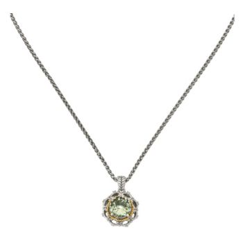 Sterling & 14K Green Quartz and Diamond Pendantwith 18 Chain