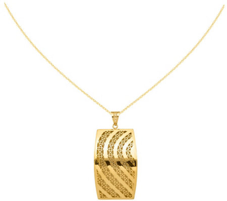 "14K Wedge Cutout Swirl Pendant w/ 18"" Chain, 6.3g"