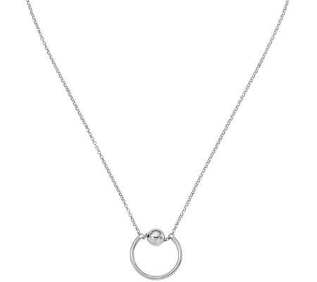 Italian Silver Circle & Bead Necklace Sterling,4.1g
