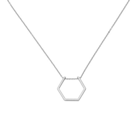 Sterling Hexagon Necklace by Silver Style