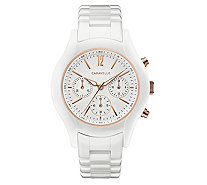 Caravelle Women's Chronograph White Ceramic Bracelet Watch - J383318