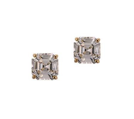 Diamonique 1.50 ct tw Asscher Stud Earrings, 14K Gold