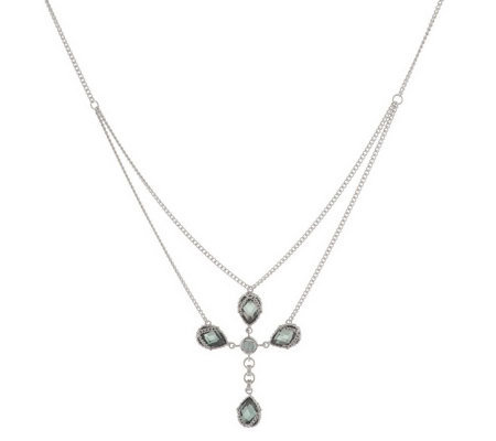 Anthony Nak Sterling 6.30 ct tw Lab-Created Cross Necklace