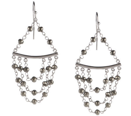Faceted Pyrite Sterling Chandelier Earrings