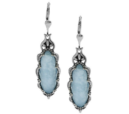 Carolyn Pollack Aquamarine Sterling Earrings