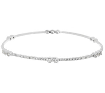 VicenzaSilver Sterling Diamonique Station Textured Bangle - J285219