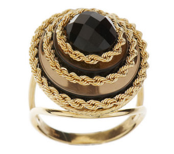 """As Is"" VicenzaGold Oval Tiered Gemstone Rope Ring, 14K - J286619"