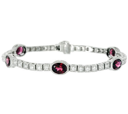"Judith Ripka 8"" 6.40cttw Rhodolite and Diamonique Tennis Bracelet"