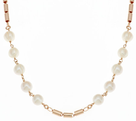 "Honora Cultured Pearl 9.0mm 20"" Bronze Station Necklace"