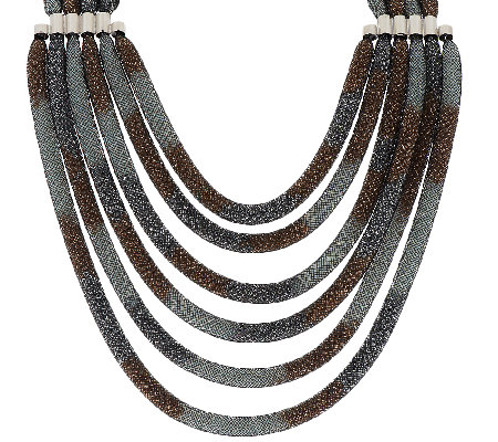 "Joan Rivers Mesh Seed Bead Multi-strand 19"" Necklace w/ 3"" Extender"