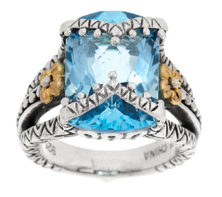 Barbara Bixby Sterling & 18K Faceted Blue Topaz Statement Ring
