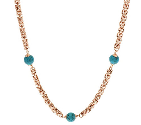 "Bronze 24"" Turquoise Bead Byzantine Necklace by Bronzo Italia"