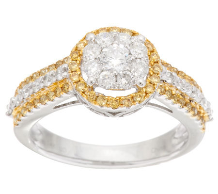 """As Is"" Affinity Diamond 1.00 ct tw White/Yellow Halo Ring, 14K"