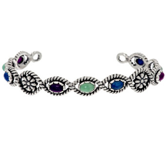 American West Multi-Gemstone Flower Design Sterling Cuff - J295019