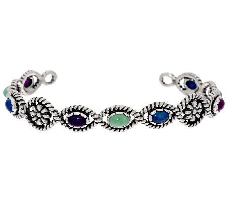 American West Multi-Gemstone Flower Design Sterling Cuff