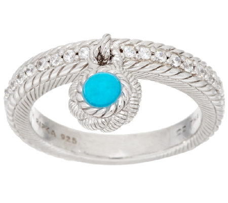 Judith Ripka Sterling Turquoise Bead & Diamonique Charm Ring