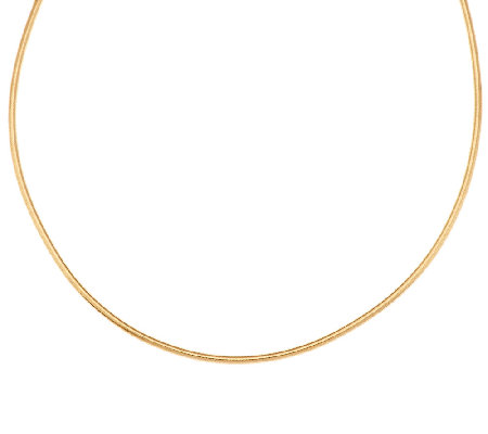 "VicenzaGold 16"" Mesh Wrapped Round Omega Necklace, 14K"