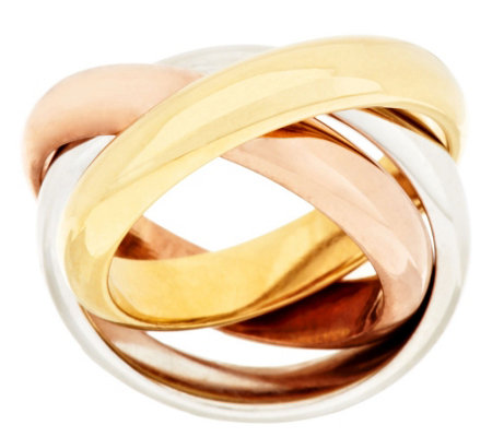 Triple Domed Polished Rolling Ring, 14K