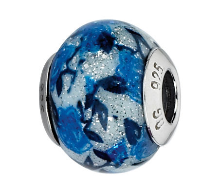 Prerogatives Blue Rose Glitter Italian Murano Glass Bead