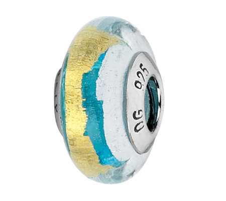 Prerogatives Turquoise/White/Gold Italian Murano Glass Bead