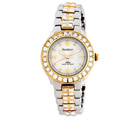 Armitron Women's Crystal-Accented Two-Tone Dres s Watch