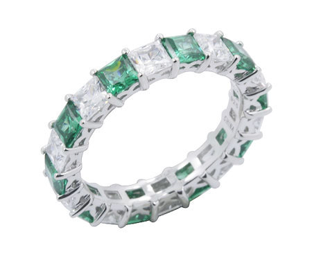 Diamonique & Simulated Emerald Band Ring, Platinum Clad