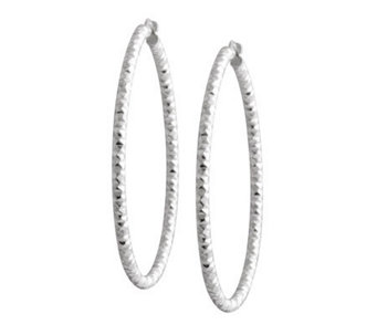 "UltraFine Silver 1-1/2"" Diamond-Cut Round HoopEarrings - J304419"