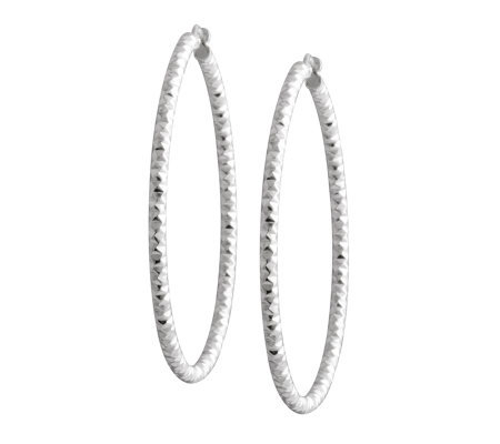 "UltraFine Silver 1-1/2"" Diamond-Cut Round HoopEarrings"