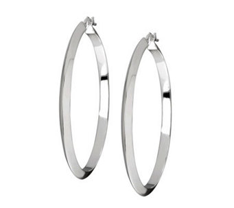 "UltraFine Silver 1-1/2"" High Polished Round Hoop Earrings - J305619"