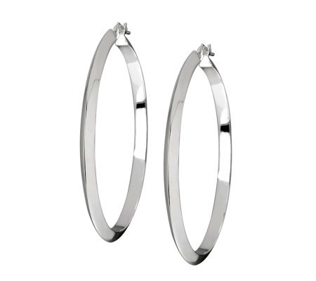 "UltraFine Silver 1-1/2"" High Polished Round Hoop Earrings"