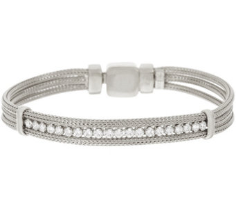 VicenzaSilver Sterling Mesh Diamonique Station Bracelet - J317419