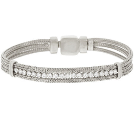 VicenzaSilver Sterling Mesh Diamonique Station Bracelet