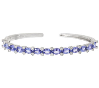 Judith Ripka 5.30 ct Tanzanite & Diamonique Sterling Cuff - J318119