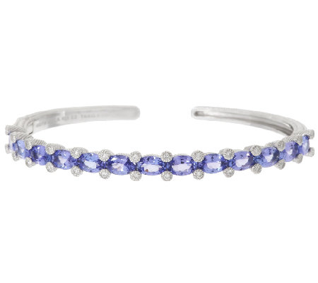 Judith Ripka 5.30 ct Tanzanite & Diamonique Sterling Cuff