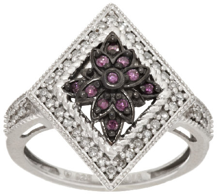 Purple Diamond Ring Sterling 1/4 cttw, by Affinity